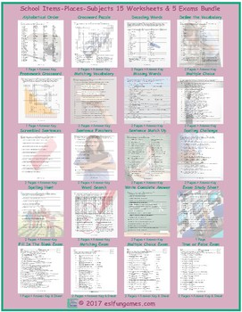 School Items-Places-Subjects 20 Worksheet and Exam Bundle