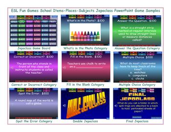 School Items-Places-Subjects Jeopardy PowerPoint Game Slideshow