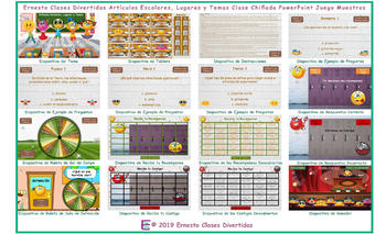 School Items, Places & Subjects Kooky Class Spanish PowerPoint Game