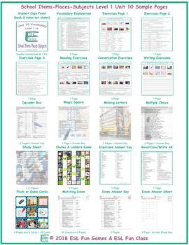 School Items-Places-Subjects Level 1-A Unit 10
