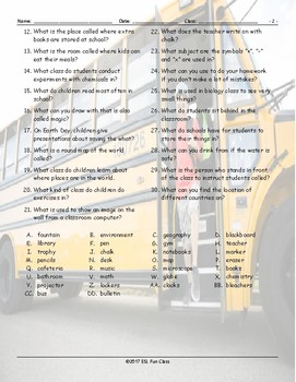 School Items-Places-Subjects Missing Letters Worksheet
