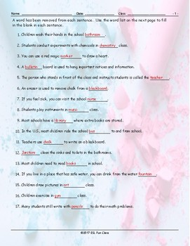 School Items-Places-Subjects Missing Word Worksheet