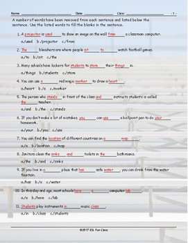 School Items-Places-Subjects Missing Words Worksheet
