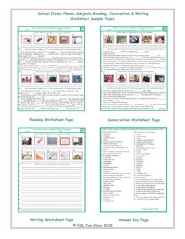 School Items-Places-Subjects Reading-Conversation-Writing Worksheets