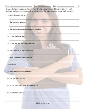 School Items-Places-Subjects Sentence Finishers Worksheet