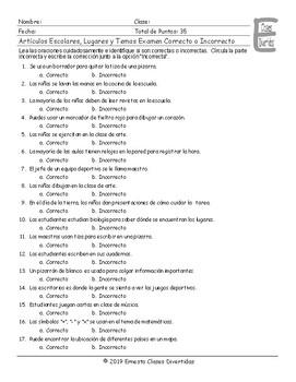 School Items-Places-Subjects Spanish Correct-Incorrect Exam