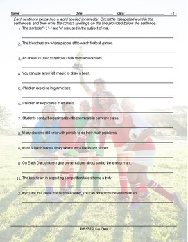 School Items-Places-Subjects Spelling Hunt Worksheet