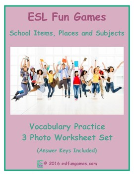 School Items, Places and Subjects 3 Photo Worksheet Set
