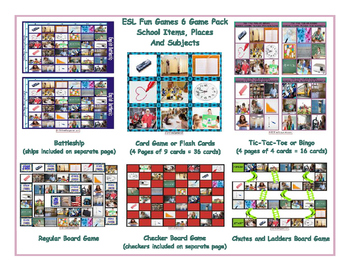 School Items, Places and Subjects 6 Board Game Bundle