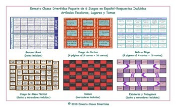 School Items, Places and Subjects 6 Spanish Game Bundle