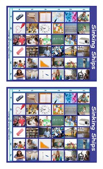 School Items, Places, and Subjects Legal Size Photo Battleship Game