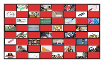 School Items, Places, and Subjects Legal Size Photo Checkerboard Game