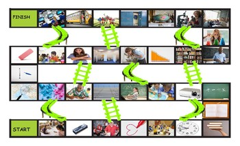School Items, Places, and Subjects Legal Size Photo Chutes and Ladders Game