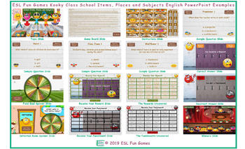 School Items, Places and Subjects Kooky Class English PowerPoint Game
