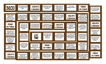 School Items, Places and Subjects Spanish Board Game