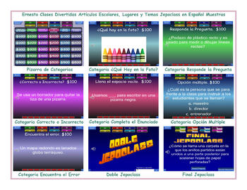 School Items, Places and Subjects Spanish Jeopardy Game