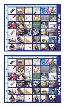 School Items, Places, and Subjects Spanish Legal Size Photo Battleship Game