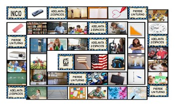 School Items, Places, and Subjects Spanish Legal Size Photo Board Game