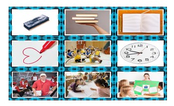 School Items, Places, and Subjects Spanish Legal Size Photo Card Game