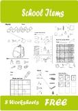 School Items Worksheets