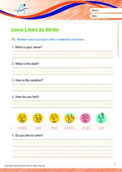 School - Jane Likes to Write (with 'Triple-Track Writing Lines')