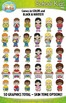 School Kid Characters Clipart Set — Includes 50 Graphics!