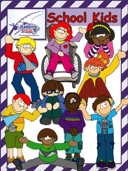 School Kids (27 clip art images-18 colored and 9 black-lines)