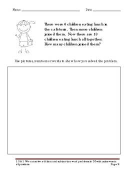 School Kids Addition & Subtraction Word Problems for First Grade
