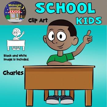 School Kids Clip Art - Charles at Desk