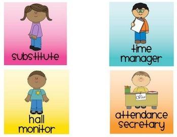 School Kids Class Job Cards - Editable