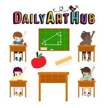 School Kids Clip Art - Great for Art Class Projects!