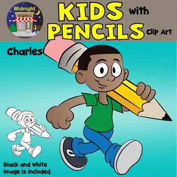 School Kids Clip Art {Kids with Pencils} - Charles