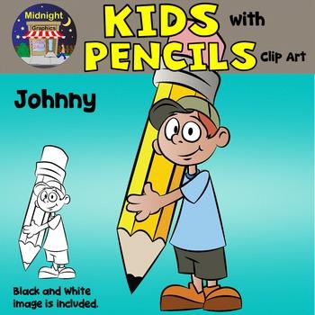 School Kids Clip Art {Kids with Pencils} - Johnny