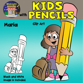 School Kids Clip Art {Kids with Pencils} - Maria