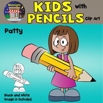 School Kids Clip Art {Kids with Pencils} - Patty