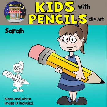 School Kids Clip Art {Kids with Pencils} - Sarah