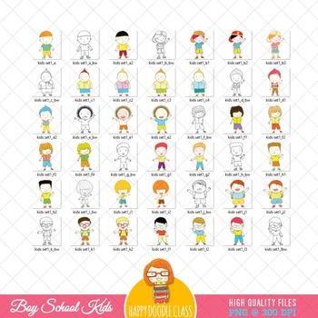 School Kids Clip Art, School Boys Clip Art Bundle. 42 Pieces.