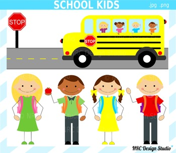 Stick figure school kids clipart commercial use