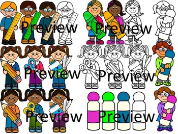 Kids with school supplies clip art