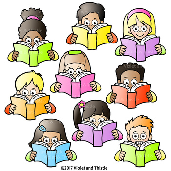 reading kids reading clipart holding book clip art by violet and thistle rh teacherspayteachers com