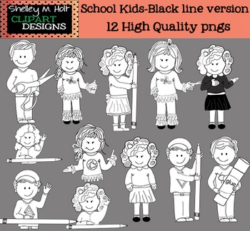 School Kids Clipart - Black line version