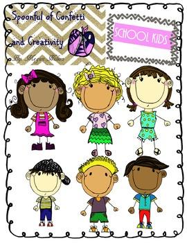 School Kids {Confetti and Creativity Clip Art}