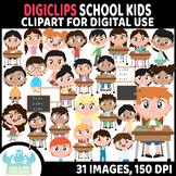 School Kids DigiClips, Movable Digital Pieces, Digital Mov