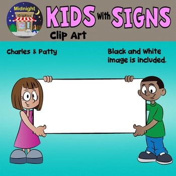 School Kids Holding Signs Clip Art - Charles and Patty