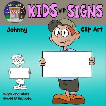 School Kids Holding Signs Clip Art - Johnny