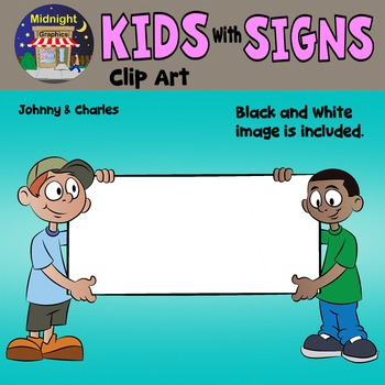 School Kids Holding Signs Clip Art - Johnny and Charles