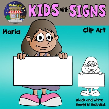 School Kids Holding Signs Clip Art - Maria