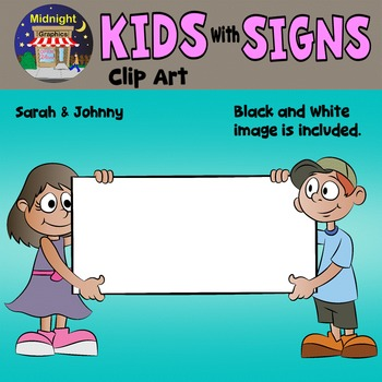 School Kids Holding Signs Clip Art - Maria and Johnny