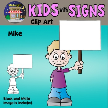 School Kids Holding Signs Clip Art - Mike 1 hand
