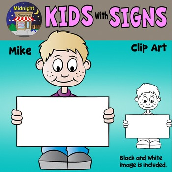 School Kids Holding Signs Clip Art - Mike